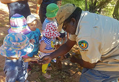 Kids learning bush tucker activity at Broome Day Care