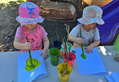 Kids painting activity at Broome Day Care